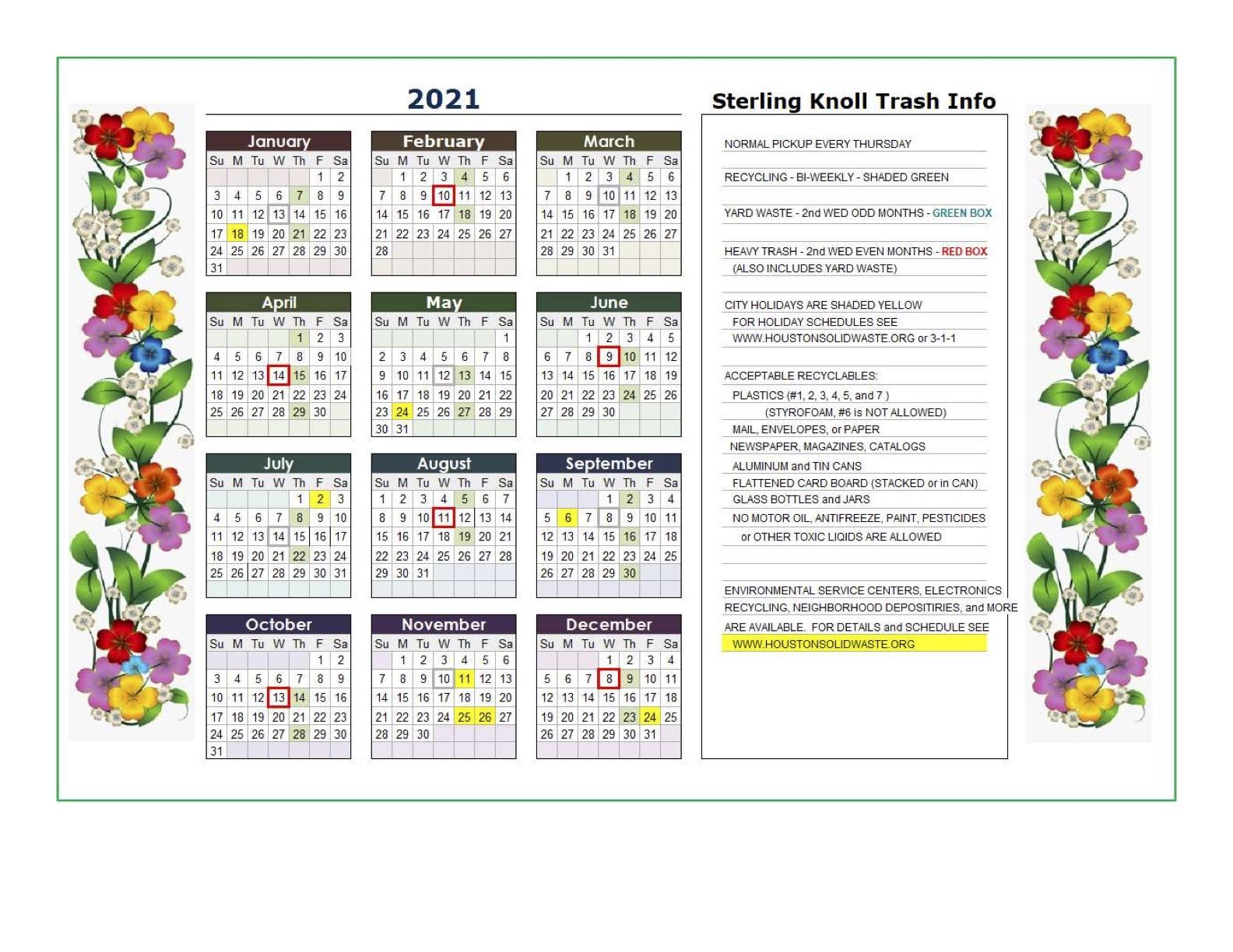 Sterling Knoll Trash Calendar 2021